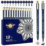 Rotuladores fineliner con puntas surtidas, EooUooIP, 12 bolígrafos negros con micro delineador (0,03 mm-3 mm), bolígrafos de dibujo técnico, bolígrafos de ilustración