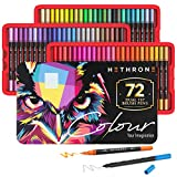 Hethrone 72 Colors Dual Tip Brush Markers, Calligraphy Markers and Fine Tip Markers for Coloring Books, Adult & Kids Journal Writing and Calligraphy Drawing