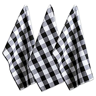 DII Cotton Buffalo Check Plaid Dish Towels, (20x30 , Set of 3) Monogrammable Oversized Kitchen Towels for Drying, Cleaning, Cooking, & Baking - Black & White