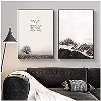 北欧の雪山の壁の芸術のキャンバスのポスターとプリント風景キャンバス絵画部屋の壁の装飾のための壁の芸術の写真60x85cm-2個フレームレス
