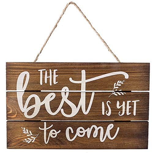 "Outshine –The Best is Yet to Come Wooden Inspirational Quote Sign, Rustic Wall Décor, 6""x10"" Hand-Stained Hanging Home Decoration Gift"