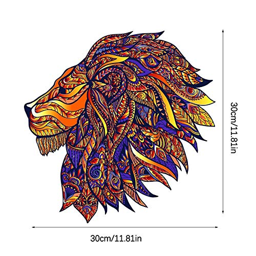 N / N Jigsaw Puzzle Wooden 5mm Thick Wooden Puzzle Toy Lion Wooden Jigsaw Puzzle Medium Size Children's Puzzle 196 Pieces, Animal Shaped Jigsaw, Gifts for Mom Dad Toys, Gift for Friend