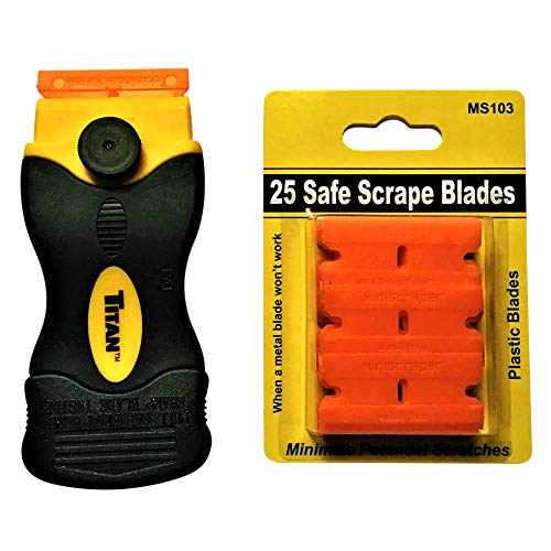 25 Plastic Double Edged Razor Blade and Titan Razor Scraper