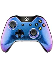 eXtremeRate Carcasa para Mando Xbox One Accesorios Protectora Brillante Placa Frontal Funda Delantera Kit de reemplazo Cubierta Shell para Mando Controlador de Xbox One Original(Azul a Violeta)