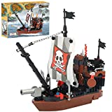 BRICK STORY Pirate Ship Building Blocks Toys with 3 Mini Toy Figures, Pirate Ships Toy Boat Building Kit Construction Toys Building Bricks for Boys Girls Age 6-12 and Up ,167pcs