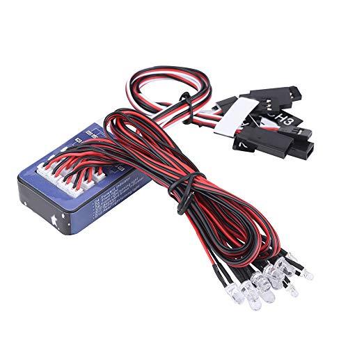 Dilwe 12-LED RC Auto Licht Kit, Beleuchtung System Kit Simulation Blinklichter Kompatibel mit Tamiya für 1/10 1/8 RC Auto / LKW / Crawler