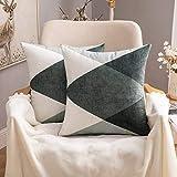 MIULEE Fundas de cojín para sofá Gamuza Sintética Almohada Caso de Diseño Geométrico Decorativas Fundas Cojines Verde Gris&Blanco 45x45 cm/18X18 2 Piezas