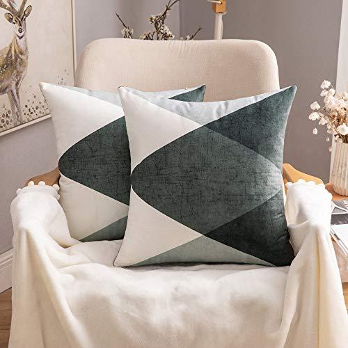 MIULEE Förpackning med 2 geometriska mockakuddar dekorativa fyrkantiga prydnadskuddfodral lyxiga örngott för soffa vardagsrum bäddsoffa med osynlig dragkedja 45 cm x 45 cm 18 x 18 tum grå grön
