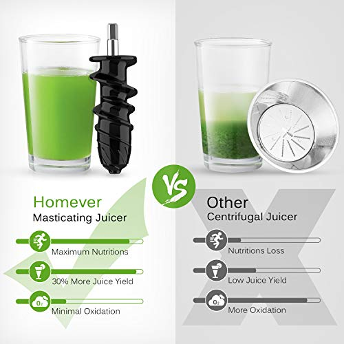 Low Speed Masticating Juicer Extractor, BPA Free Cold Press Juicer, Quite Motor, with Cleaning Brush, Bigger Container, High Nutrient Juice Reducing Oxidation (Silver)