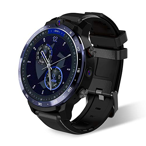 Reloj Elegante 4G Face ID 1,6 Pulgadas De Pantalla Completa del Sistema Operativo Android 7.1 3G RAM 32G ROM LTE 4G Sim WiFi Ritmo Cardíaco Hombres Mujeres Smartwatch,Negro
