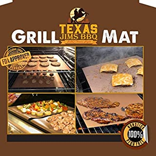 Texas Jim's BBQ Grill and Baking Mats – FDA Approved - PFOA Free – 100% Non-Stick, Reusable, and Easy to Clean Barbecue Grilling and Baking Mats Copper (2)