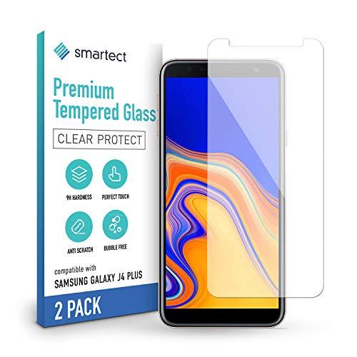 smartect Schutzglas kompatibel mit Samsung Galaxy J4 Plus [2 Stück] - Tempered Glass mit 9H Festigkeit - Blasenfreie Schutzfolie - Anti-Kratzer Bildschirmschutzfolie