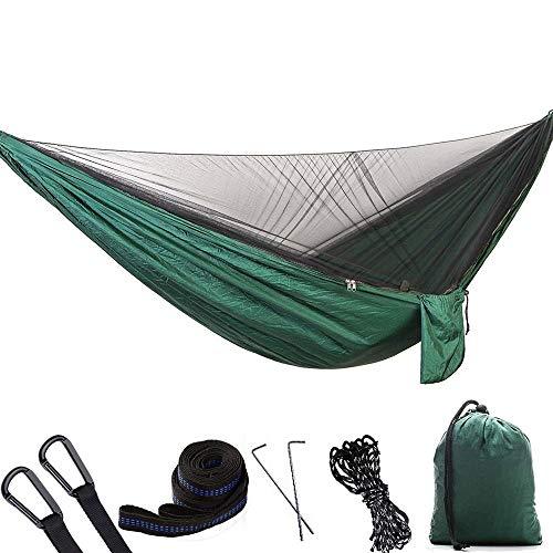 2 Personnes Camping en Plein Air avec Moustiquaire Hamac Elargi Simple Double Parachute Tissu Moustiquaire Maille Camping Intérieur Swing Sac À Dos Voyage (Color : E)