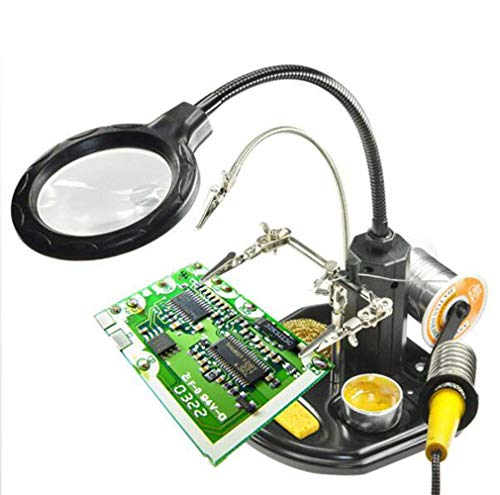 Led Desk Lamp Stand Desktop Magnifier 2.5X 4X USB Hands Free Magnifying Glass Stand with Alligator Clips - for Soldering, Assembly, Repair, Modeling, Hobby, Crafts