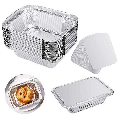Veraing 40 Stück Aluschalen Grillschalen Aluminiumschalen, Einweg Aluschalen mit Deckel Einweg-Backform Lebensmittelbehälter für Kochen Rösten Backen (260ml)