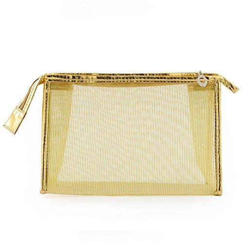 Filet net transparent à grande capacité Sac à cosmétiques imperméable à l'eau Sac de finition PVC Sac de voyage , golden 8#