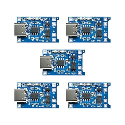 ZHITING 5pcs TP4056 interfaccia di Input di Tipo C USB 5V 1A 18650 Batteria al Litio modulo di Ricarica con Scheda di Protezione Doppia