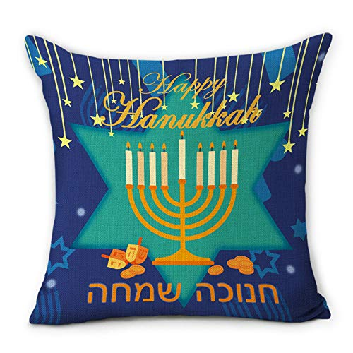 Hexagram Hanukkah Throw Pillow Covers Cushion Cases Fall Holiday Decorative Pillowcases Couch,18'x18'