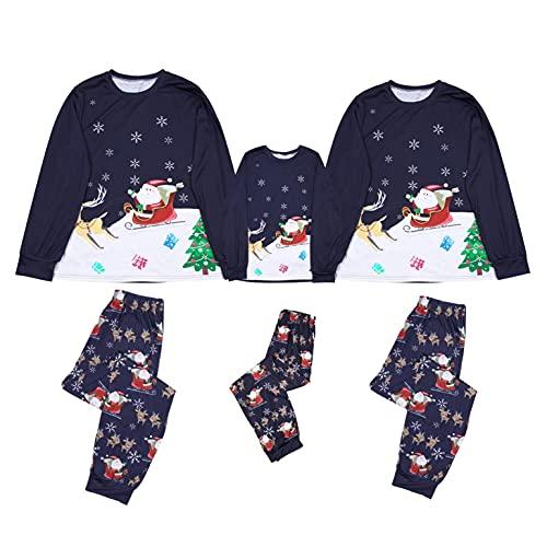 Alueeu Pijamas Navideños Familiares El nuevo Suave y Cómodo Mamá Papá Niños Bebé Chándal con Estampado Pijamas Navidenos Mono riou