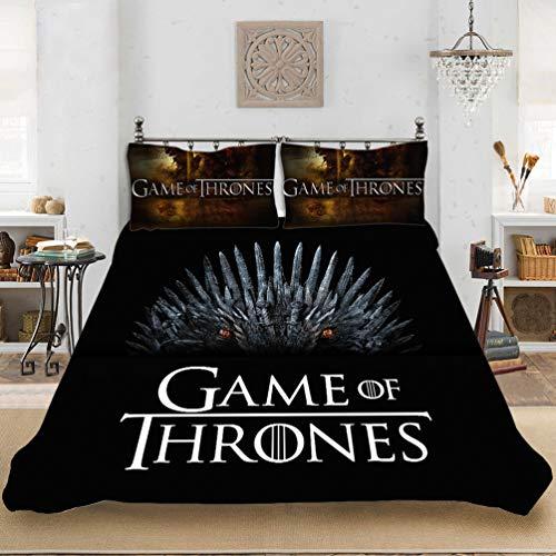 DCWE Juego de Tronos Juego de cama de 3 piezas con funda nórdica y fundas de almohada de microfibra, estampado 3D, 38,135 x 200 cm