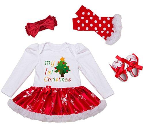 Decstore Bambine Mio Primo Natale Costume Partito Vestito Tutu Outfits Set 4PCS