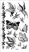 (ファンタジー) THE FANTASY タトゥーシール 蝶 チョウ 白黒 Butterfly-9【レギュラー】-7種類 (hm138)