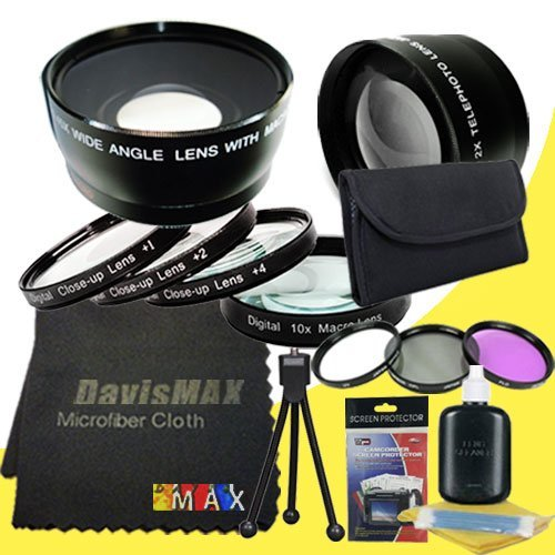 DavisMAX 52mm Macro Close Up Kit + Wide Angle + 2X Telephoto Lenses + 3 Piece Filter Kit for Canon EOS Rebel T3i with Canon EF 40mm f/ 2.8 Pancake Lens Fibercloth Deluxe Lens Bundle