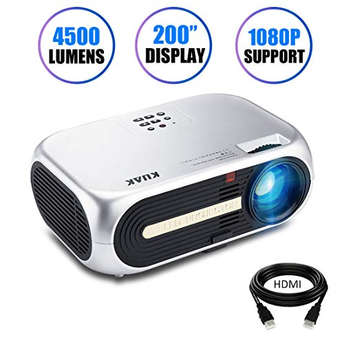 Projector, KUAK HT60 Home Theater Projector, 5' LCD Technology, 4500 Lumens HD Movie Projector, LED Video Projector with 200' Display, Support 1080P HDMI USB VGA AV