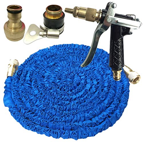 Baijiaye 25FT-150FT Tuinslang Expandable Magic Flexible Waterslang Eu Slang Plastic Slangen Pijp Met Spuitpistool Watering Blauw 100FT/30m