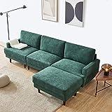 Gona Sofá cama de 266 cm, sofá de tela de 3 plazas con reposabrazos en diseño moderno, para salón (verde)