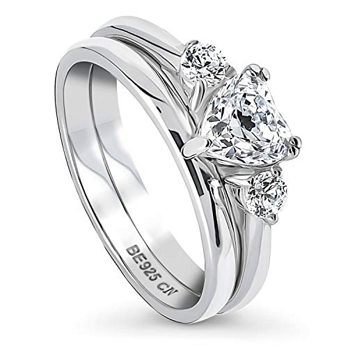 BERRICLE Rhodium Plated Sterling Silver 3-Stone Anniversary Engagement Wedding Ring Set Made with Swarovski Zirconia Heart Shaped 0.96 CTW Size 8