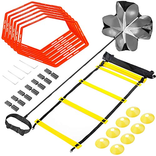 Sportout Agility Ladder Set, Speed Training Kit, Includes 12 rungs Agility Ladder, 8 Cones, 6 Hexagonal Rings, 4 Steel Stakes, Parachute and Carry Bag, to Improves Coordination, Speed and Strength