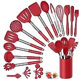 Herogo Küchenhelfer Set, 25 Stück Silikon Küchenutensilien mit Halter, Hitzebeständiger Kochbesteck Set mit Edelstahlgriff, Antihaft Kochutensilien Küchenset, Aufbewahrungsbehälter, Rot
