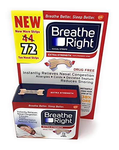 Breathe Right Extra Strength Nasal Strips, 72 Strips