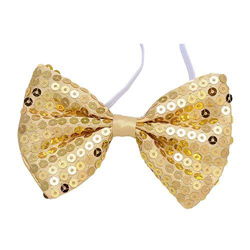 Widmann 5376G – Fliege aus Pailletten, gold, Accessoire, Kostümzubehör, Showgirl, Gentlemen, Silvester, Motto Party, Karneval