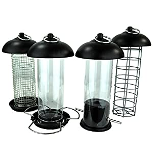 Easipet Hanging Wild Bird Feeder set of 4 Seed Nut Fat Ball Ngyer Garden Feeding Station