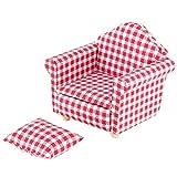 Puppenhaus Miniatur Single Sofa Couch Sessel mit Kissen für 1:12 Puppen DIY Zubehör(01)
