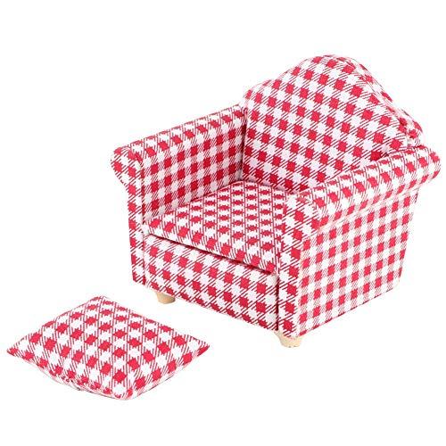 Furnoor Miniatur Single Sofa Couch Sessel mit Kissen für 1:12 Puppen DIY Puppenhaus Zubehör Kinder Geschenk(rot)