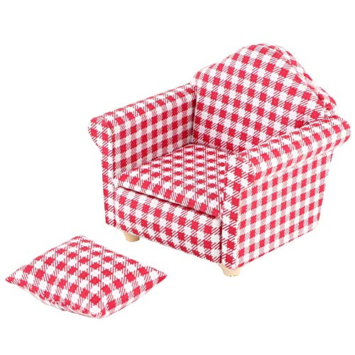 Suchinm Mini Dollhouse Sofa, Miniature Single Sofa Couch Armchair Dolls DIY Dollhouse Accessories with Pillow Best Gift for Kids(1#)