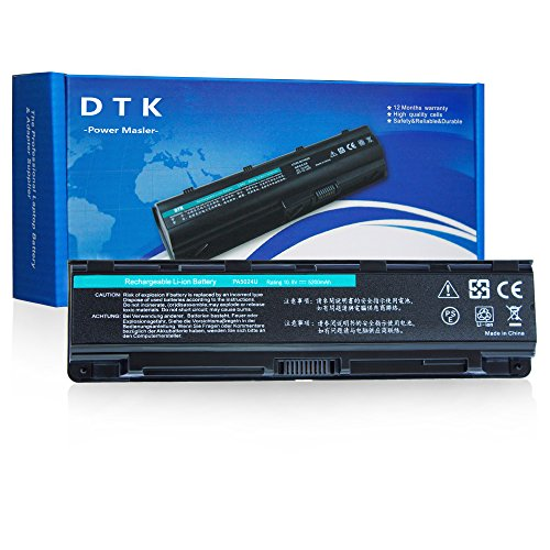 DTK Laptop Battery for Toshiba PA5023U-1BRS, PA5024U-1BRS, PA5025U-1BRS, PA5026U-1BRS,PABAS259, PABAS260, PABAS261, PABAS262, 6cells 4400 mAh Satellite L850 C850,C855D,C855-S5206,C855-S5214, C870D,C875D Series