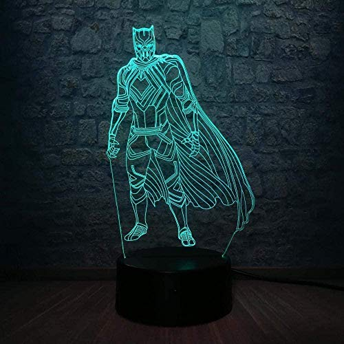 Luz de la noche Exquisita y exquisita luz nocturna colorida en 3D, luz nocturna colorida, figura de héroe milagroso, pantera negra, dormitorio con cambio de 7 colores, USB, ex