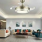 Lámpara LED de techo invisible de 36 pulgadas, 4 aspas retráctiles, 3 colores de cambio de lámpara LED