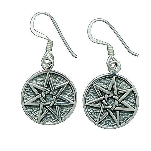 Elven Star - Pendientes de plata de ley 925 con 7 puntos de septagrama Wicca Pagan de 4 g