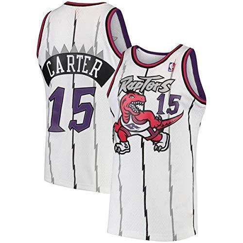 canottejerseyNBA Vince Carter - Toronto Raptors #15, Retro Vintage, Basket Jersey Maglia Canotta, Swingman Ricamata, Abbigliamento Sportivo (S, Bianco Retro)