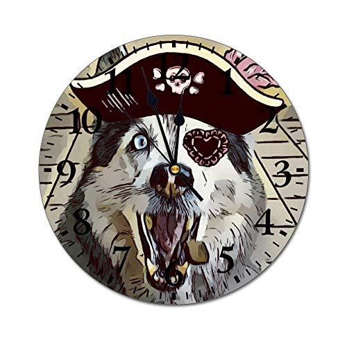 Xiaoxian Priate GOG Husky Skull Hat Quiet retro design wooden wall clock without scale wall clock home decoration wall clock fashion standable clock