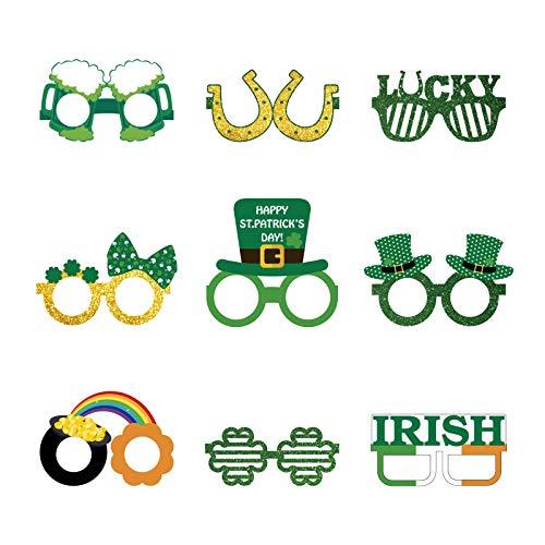 Moent - 9 paia di occhiali con trifoglio verde per San Patrizio, decorazioni divertenti, per feste irlandesi, con trifoglio luccicante, in carta, per feste in costume