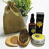 Kit para el cuidado de la barba/aceite de bálsamo y peine - Pack: kits de barba set 4 piezas