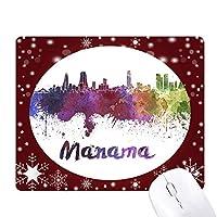マナーマ市内の水彩画 オフィス用雪ゴムマウスパッド