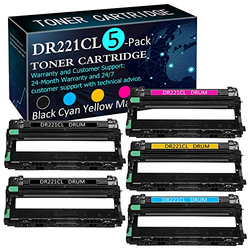 5 Pack (2BK+1C+1Y+M) DR221CL Drum Unit Replacement for Brother MFC-9130CW MFC-9140CDN MFC-9330CDW MFC-9340CDW DCP-9015CDW DCP-9020CDN HL-3140CW HL-3150CDN HL-3170CDW HL-3180CDW Printers Drum Unit