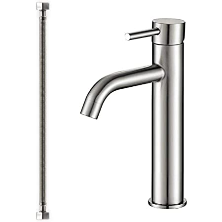houseHold Domestic Faucets 304 Stainless Steel Heightening Single Hole Straight Nozzle Rotating Mouth Water Table Art Basin Faucet